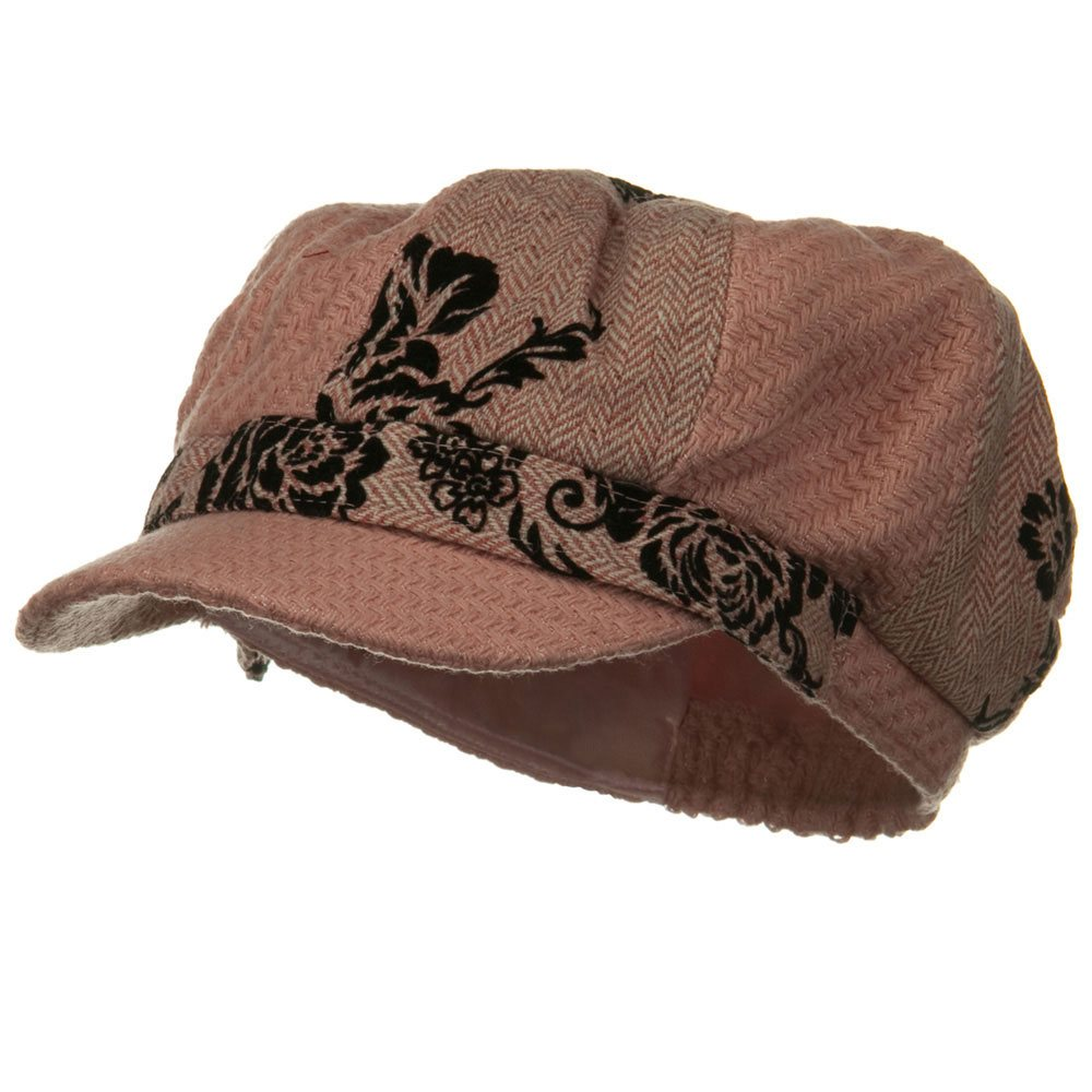 Flower Print Winter Newsboy Hat - Pink - Hats and Caps Online Shop - Hip Head Gear