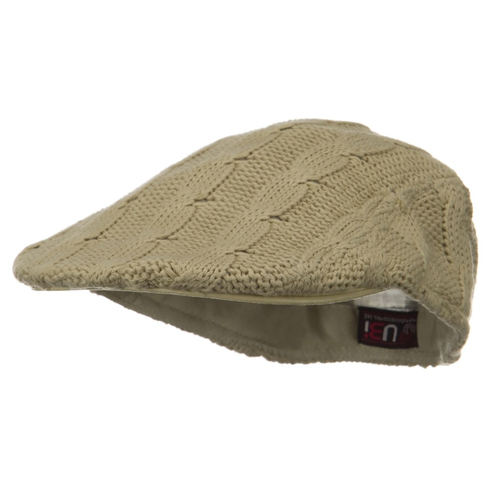 Knitted Cable Ivy Hat - Khaki - Hats and Caps Online Shop - Hip Head Gear