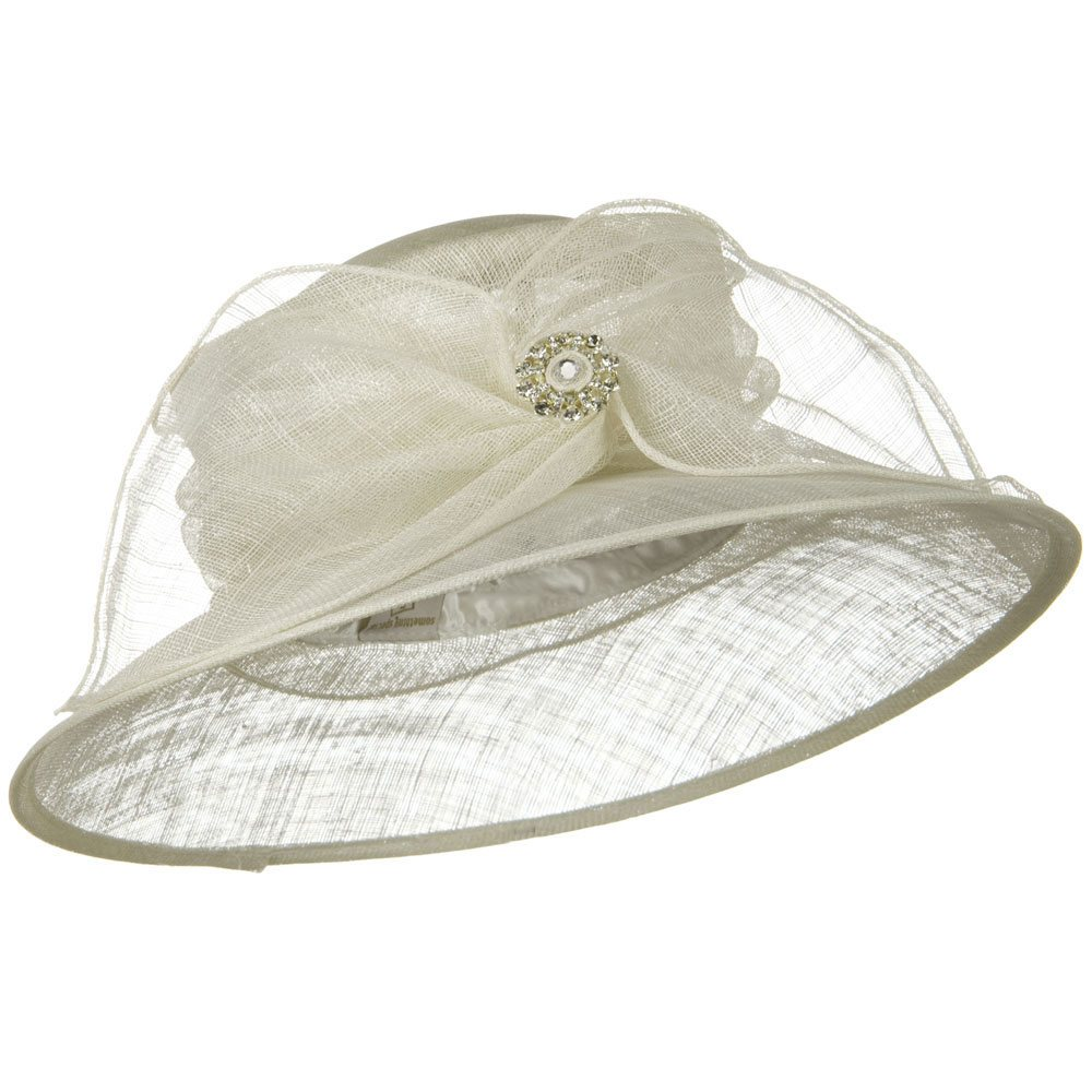 Wide Leaf Ribbon Sinamay Hat - White - Hats and Caps Online Shop - Hip Head Gear
