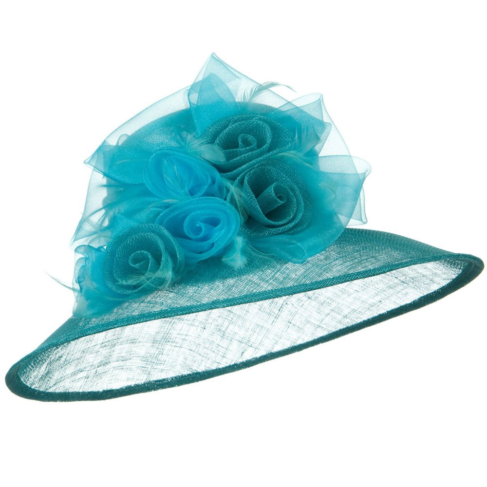 Rosette Flower Ribbon Sinamay Hat - Turquoise - Hats and Caps Online Shop - Hip Head Gear