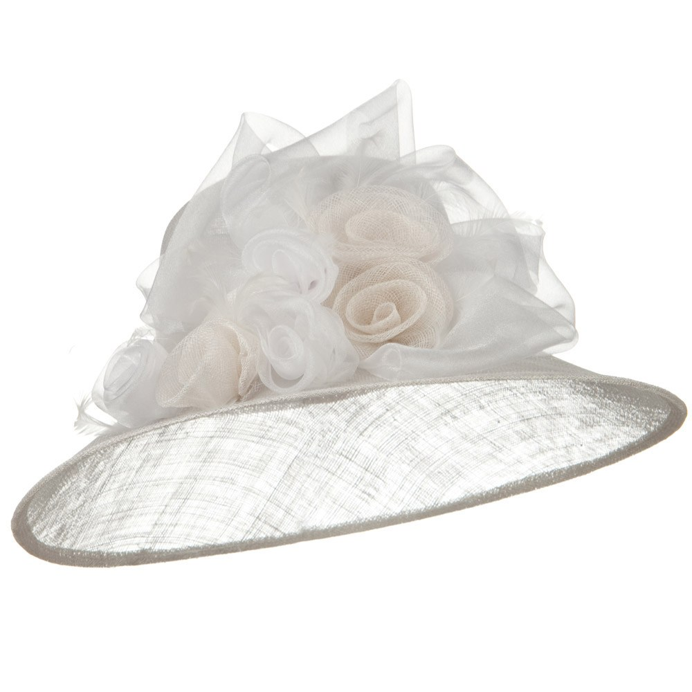 Rosette Flower Ribbon Sinamay Hat - White - Hats and Caps Online Shop - Hip Head Gear