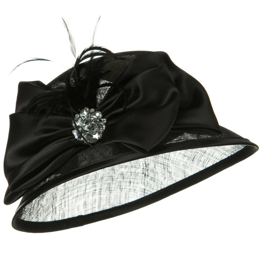 Satin Flower Band Sinamay Hat - Black - Hats and Caps Online Shop - Hip Head Gear