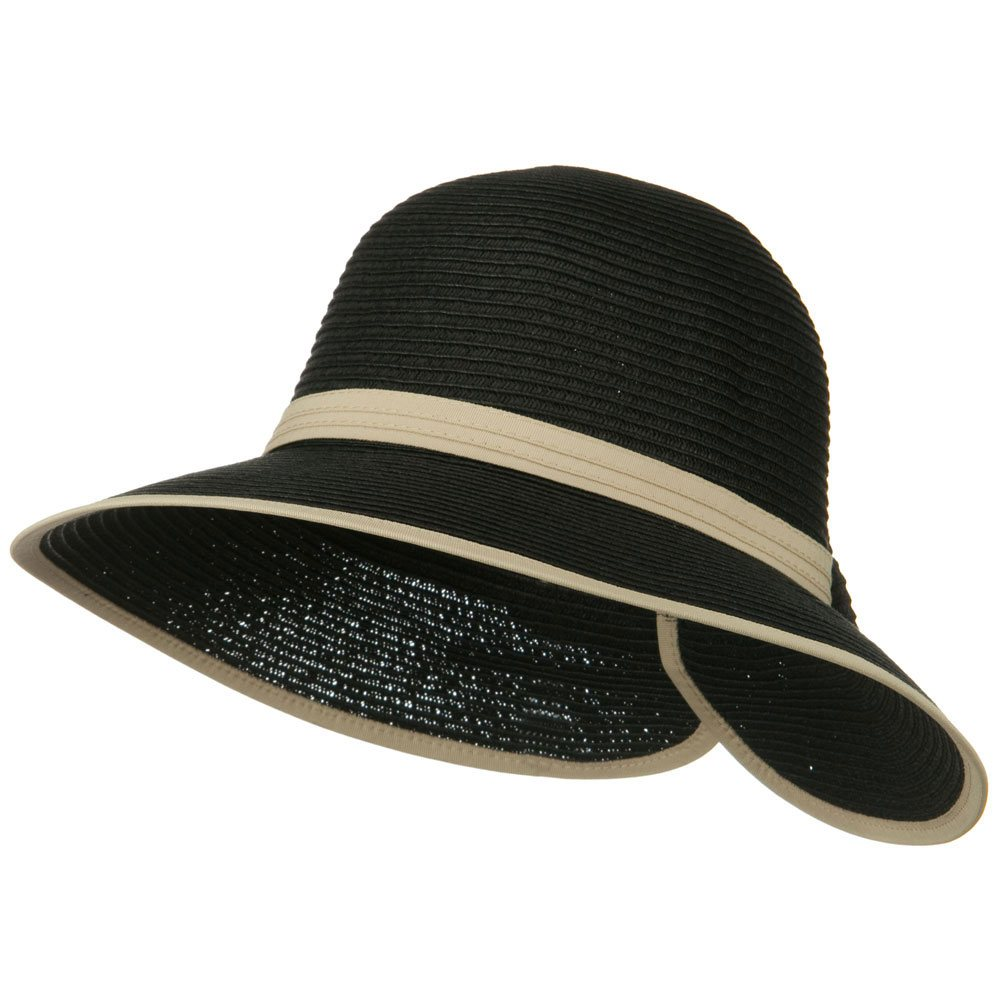 Bow Tie Paper Straw Hat - Black - Hats and Caps Online Shop - Hip Head Gear