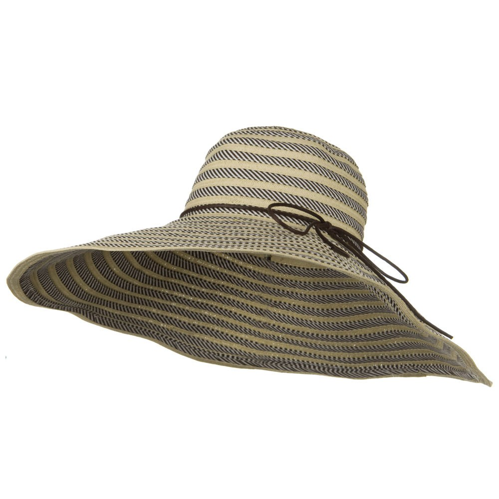 Big Brim Stripe Braid Hat - Brown - Hats and Caps Online Shop - Hip Head Gear