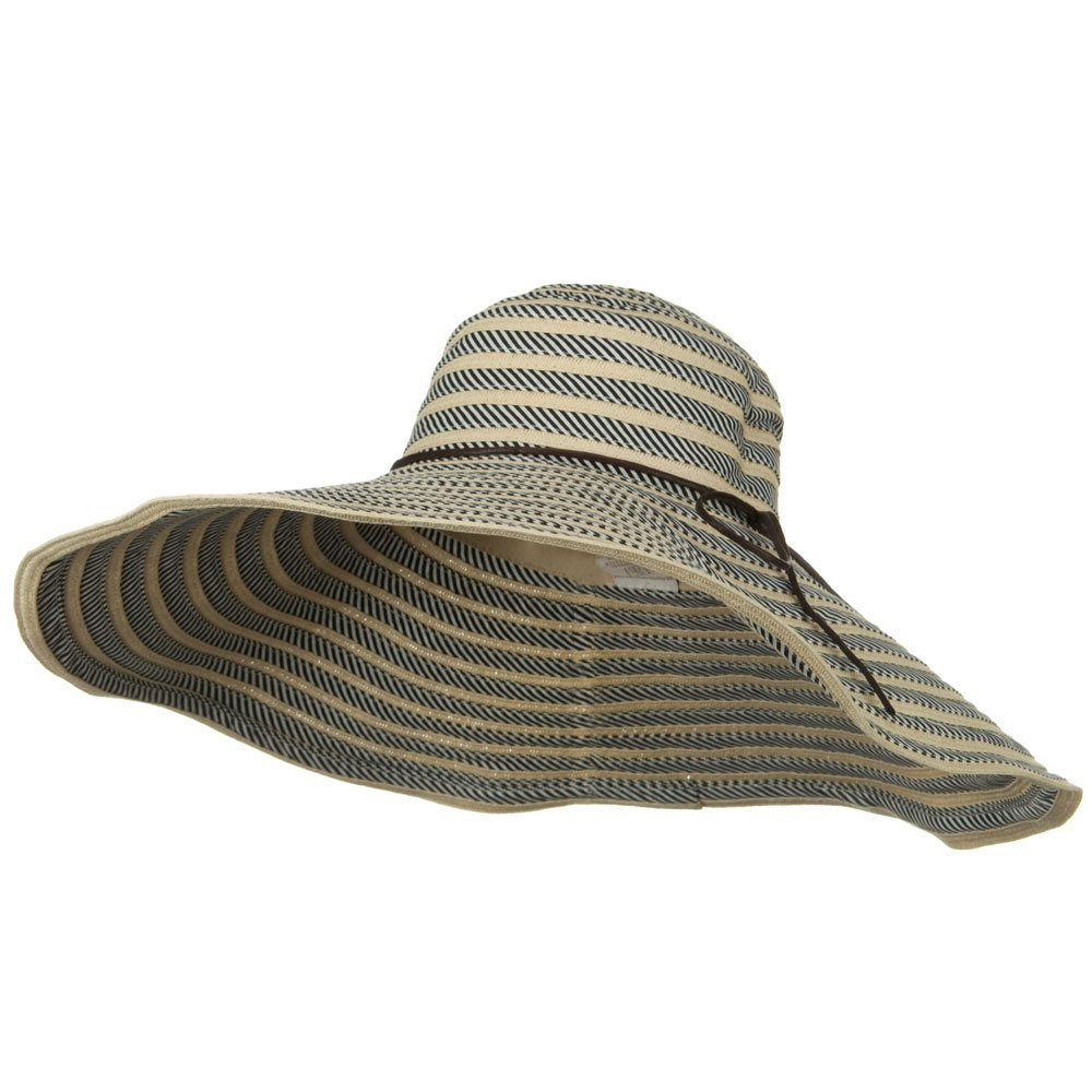 Big Brim Stripe Braid Hat - Black - Hats and Caps Online Shop - Hip Head Gear