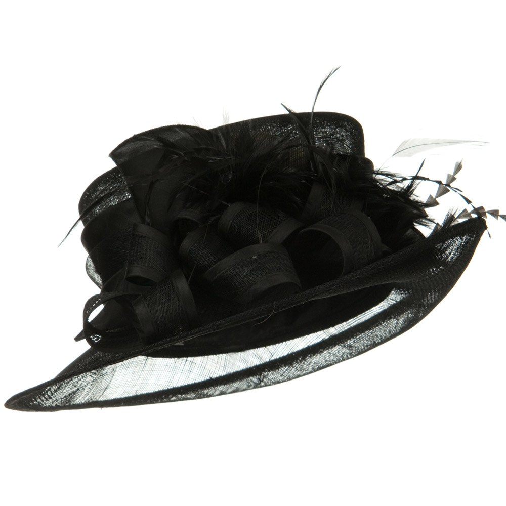Up and Downturned Brim Sinamay Hat - Black - Hats and Caps Online Shop - Hip Head Gear