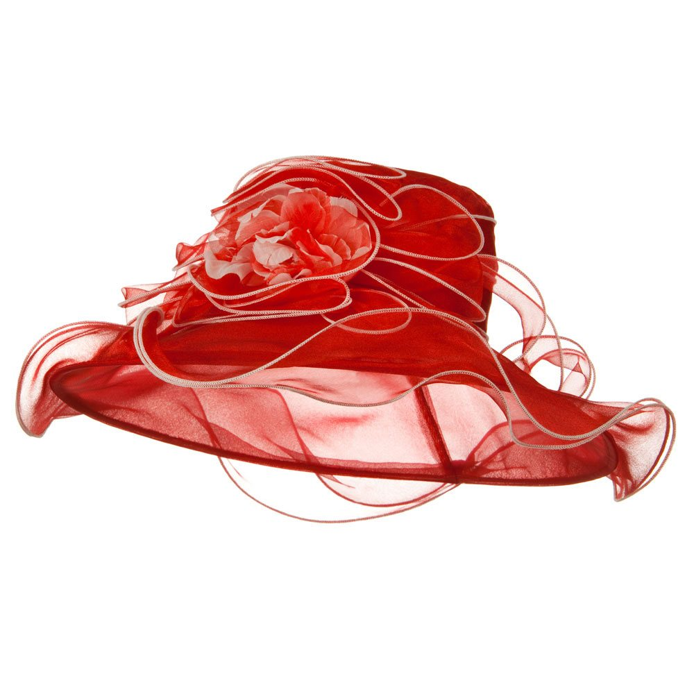 Contrast Trim Organza Hat - Red - Hats and Caps Online Shop - Hip Head Gear