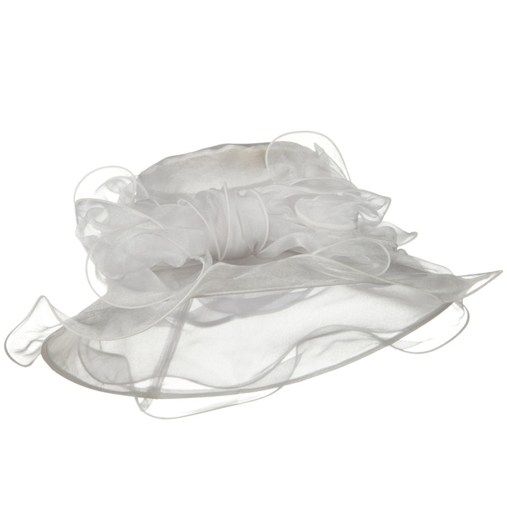 Ruffled Brim Organza Hat - White - Hats and Caps Online Shop - Hip Head Gear