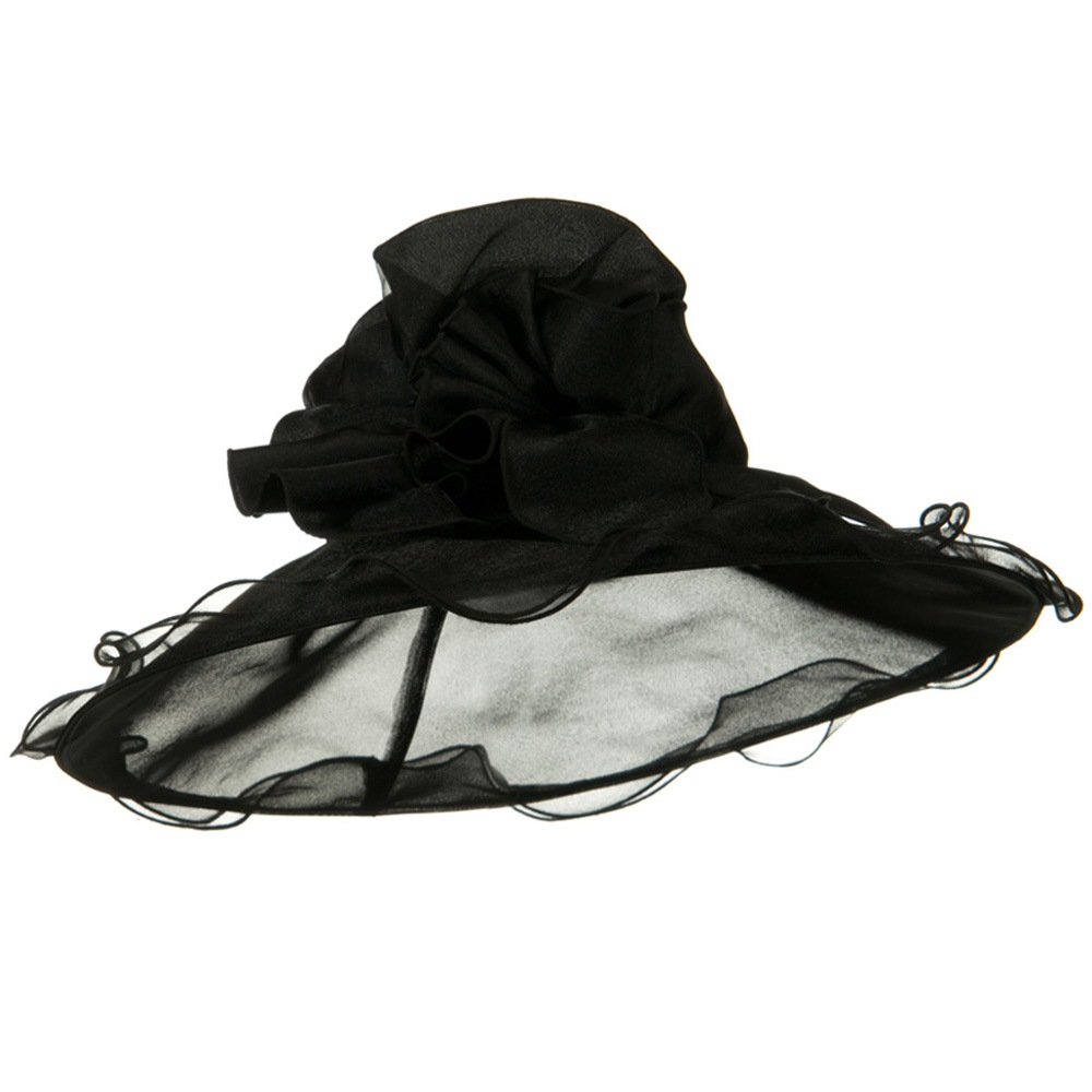 Double Trim Organza Hat - Black - Hats and Caps Online Shop - Hip Head Gear