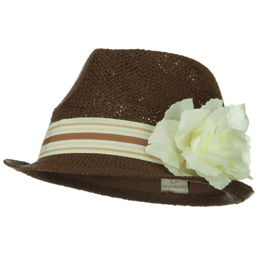 Flower Stripe Band Fedora - Ivory - Hats and Caps Online Shop - Hip Head Gear