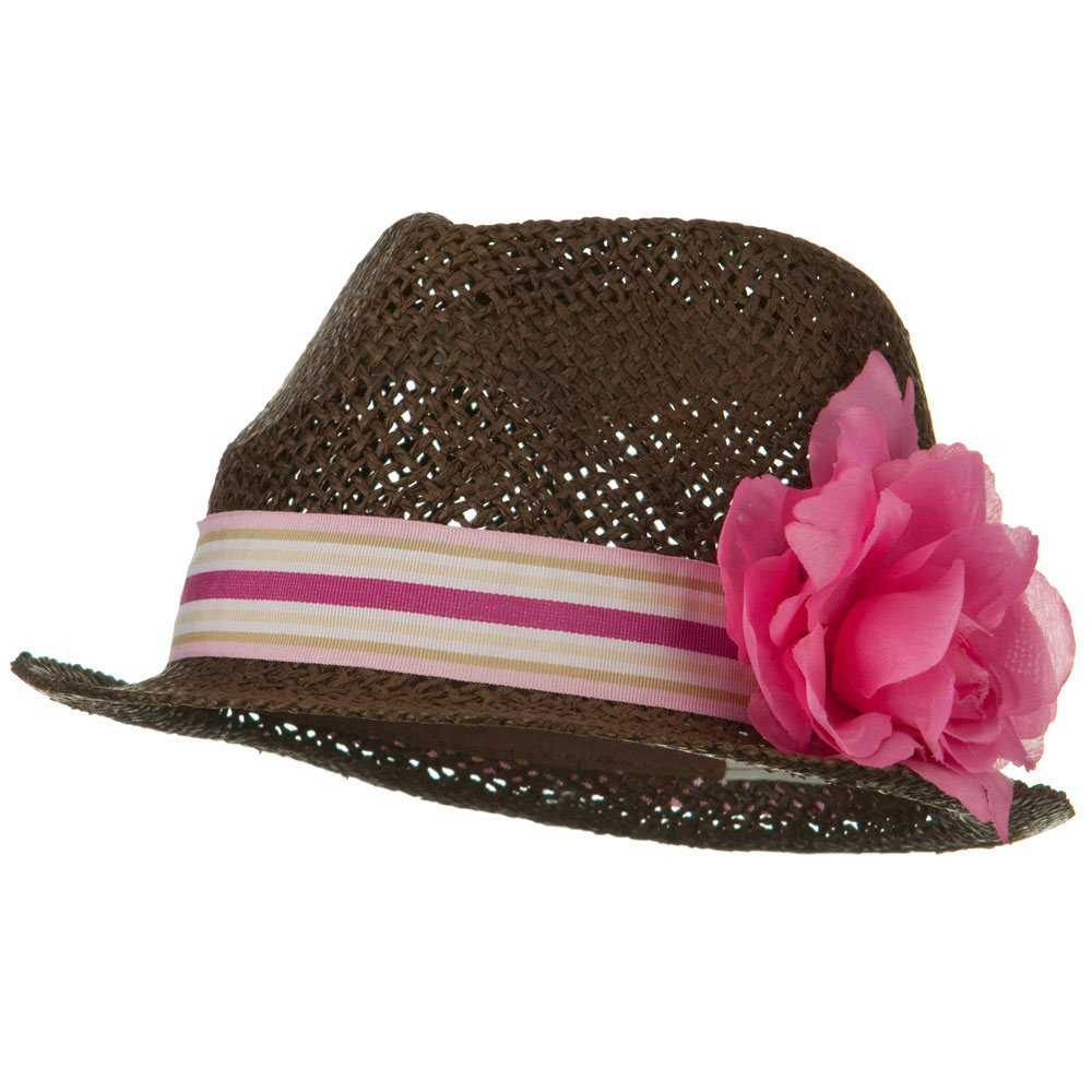Flower Stripe Band Fedora - Fuchsia - Hats and Caps Online Shop - Hip Head Gear