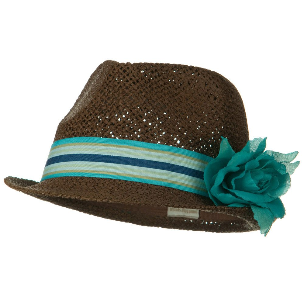 Flower Stripe Band Fedora - Blue - Hats and Caps Online Shop - Hip Head Gear