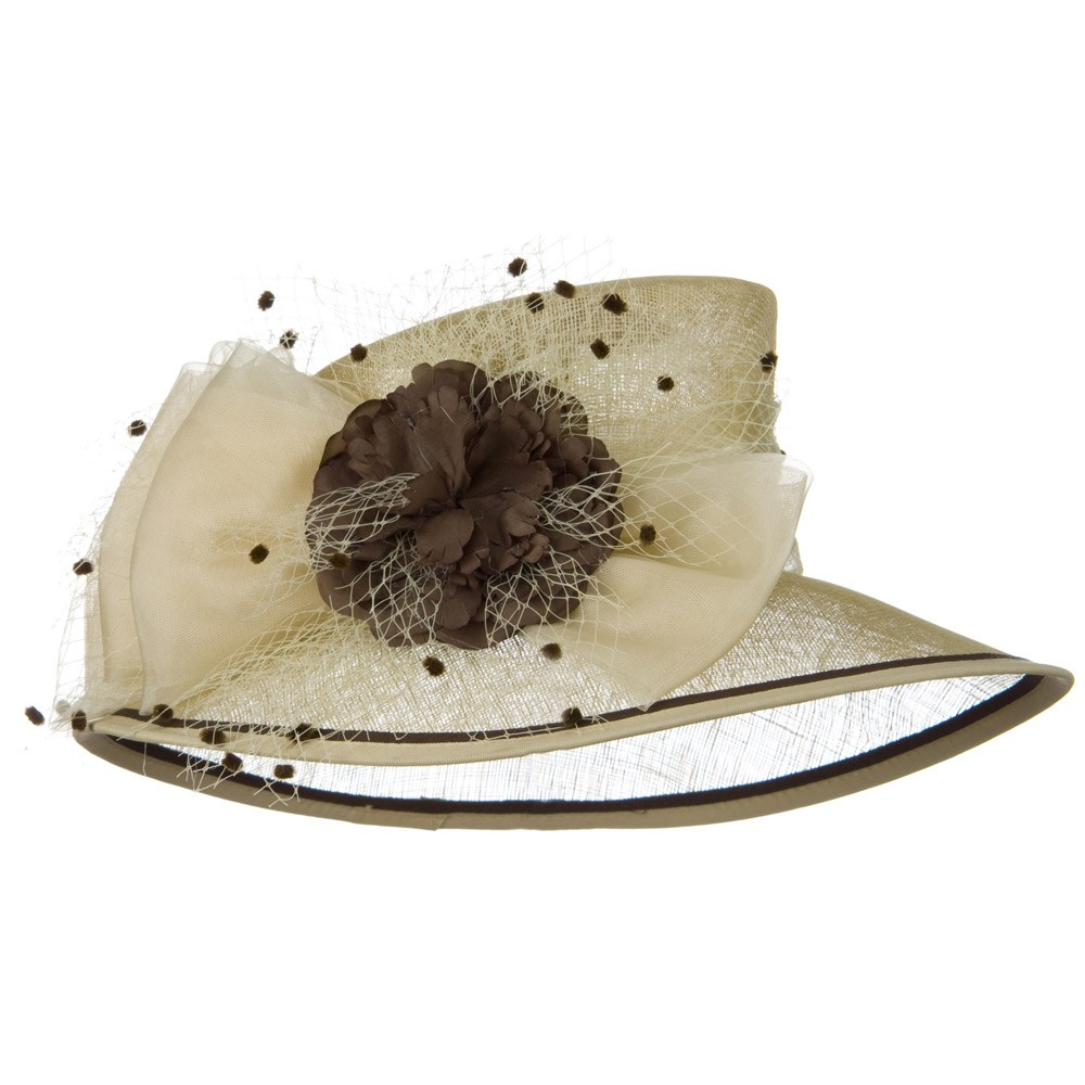 Bow Pom Pom Flower Sinamay Hat - Champagne Brown - Hats and Caps Online Shop - Hip Head Gear