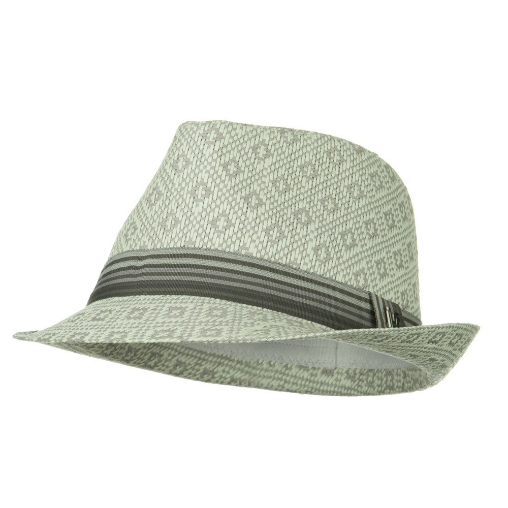 Diamond Pattern Toyo Fedora Hat - Beige - Hats and Caps Online Shop - Hip Head Gear