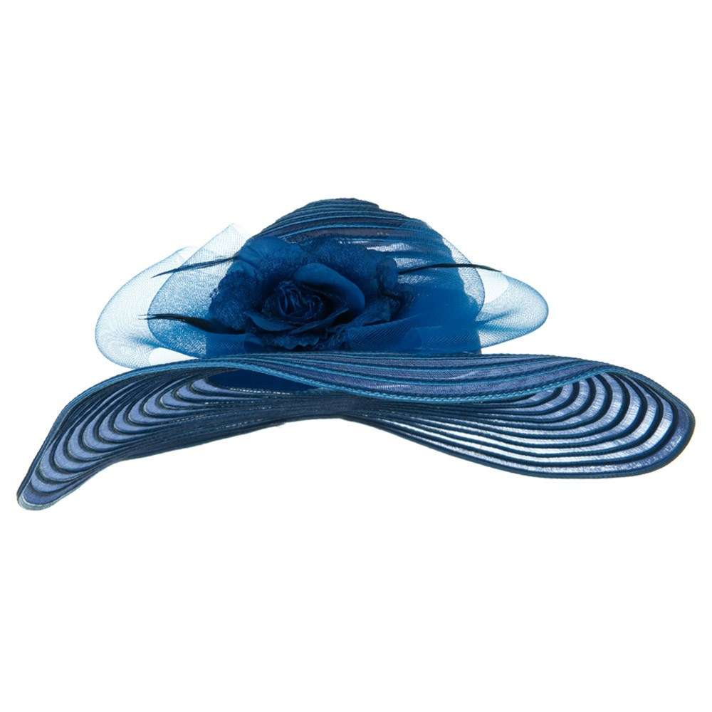 Flower Horse Hair Trim PP Hat - Blue - Hats and Caps Online Shop - Hip Head Gear