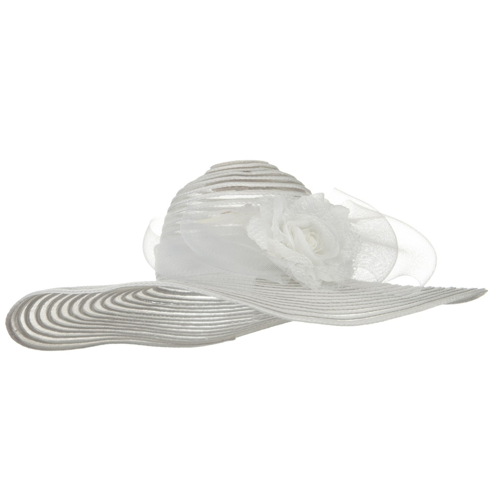 Flower Horse Hair Trim PP Hat - White - Hats and Caps Online Shop - Hip Head Gear
