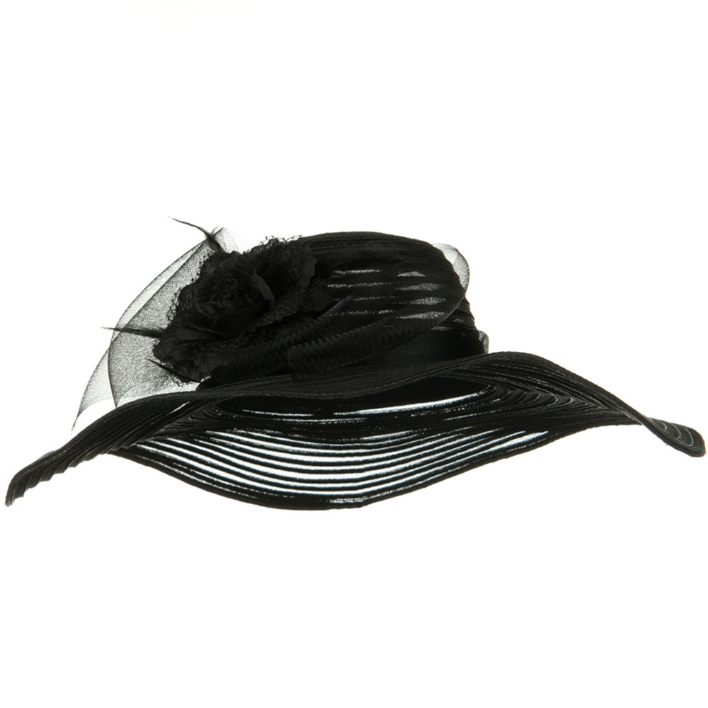 Flower Horse Hair Trim PP Hat - Black - Hats and Caps Online Shop - Hip Head Gear