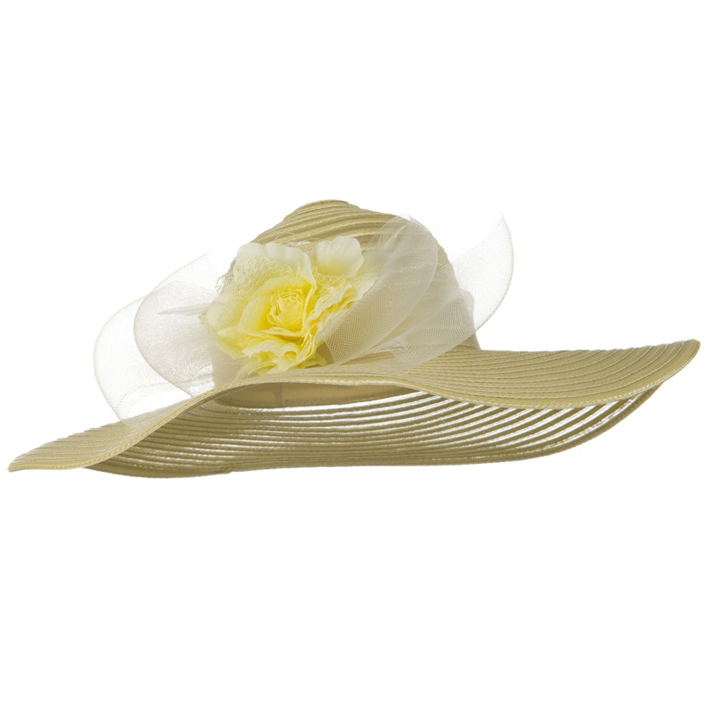 Flower Horse Hair Trim PP Hat - Natural - Hats and Caps Online Shop - Hip Head Gear