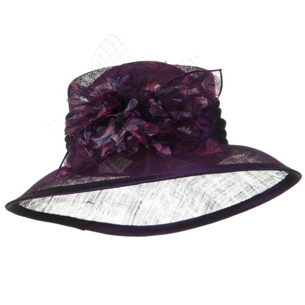 3 1/2 Inch Brim Sinamay Hat - Purple - Hats and Caps Online Shop - Hip Head Gear
