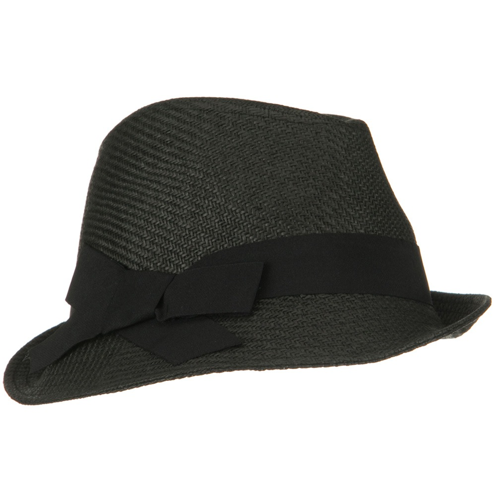 Fine Woven Woman Slanted Fedora - Black - Hats and Caps Online Shop - Hip Head Gear