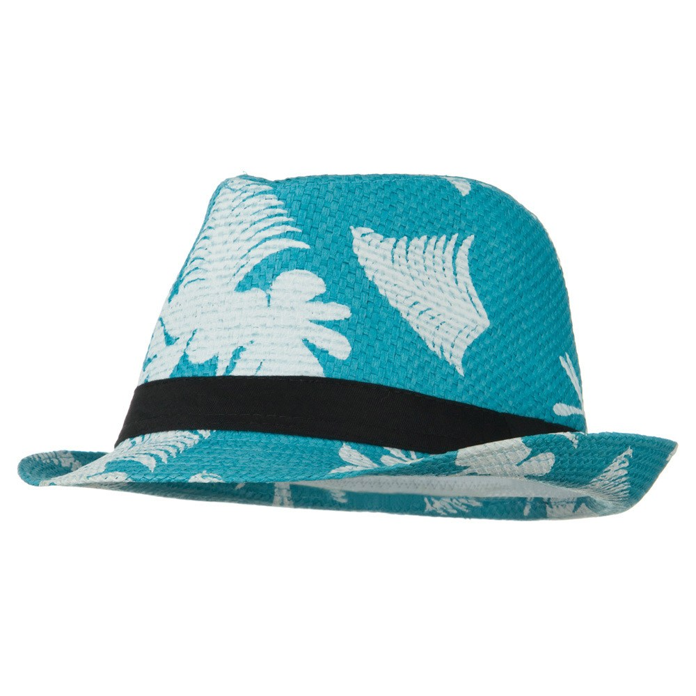 Leaf Print Design Straw Fedora - Turquoise - Hats and Caps Online Shop - Hip Head Gear