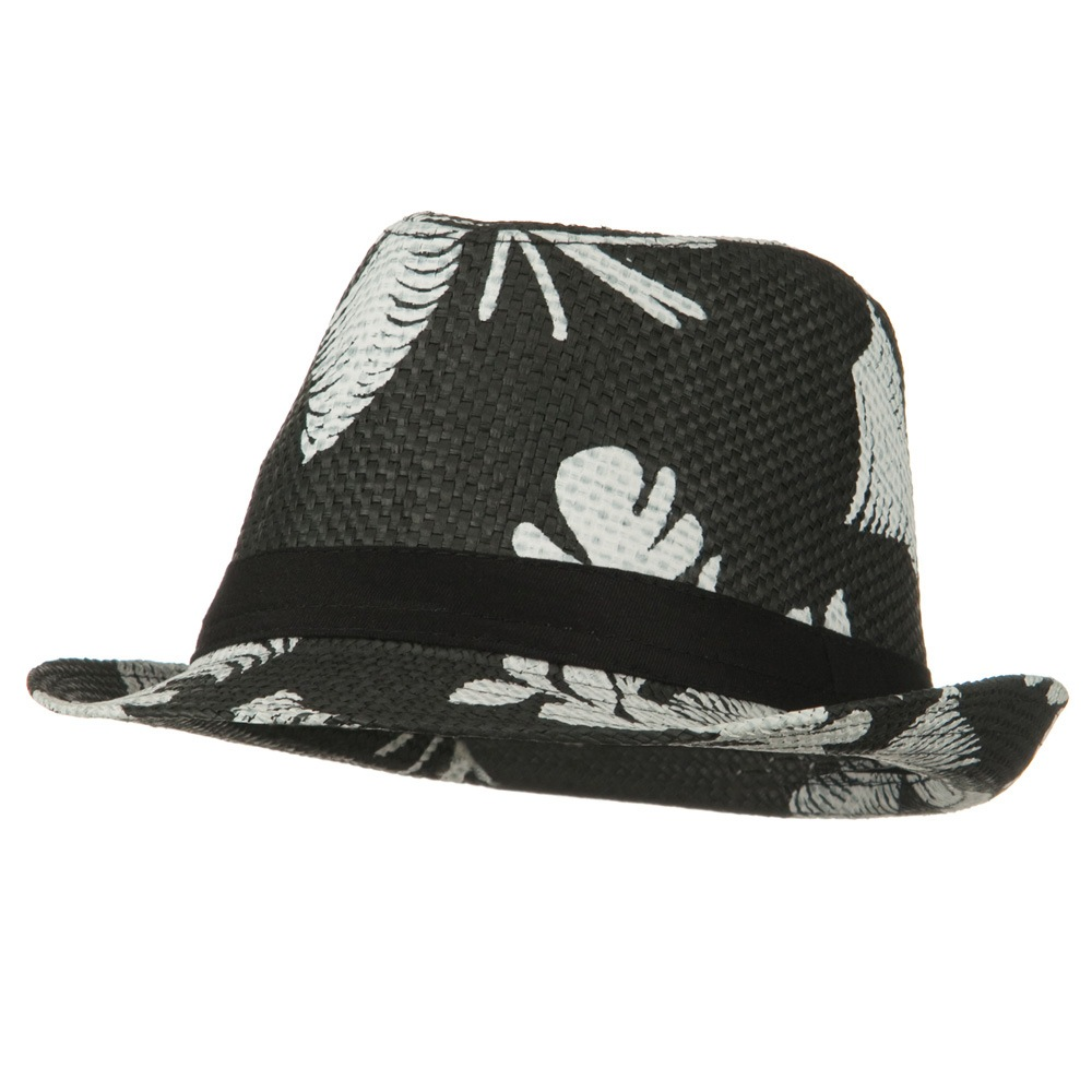 Leaf Print Design Straw Fedora - Black - Hats and Caps Online Shop - Hip Head Gear