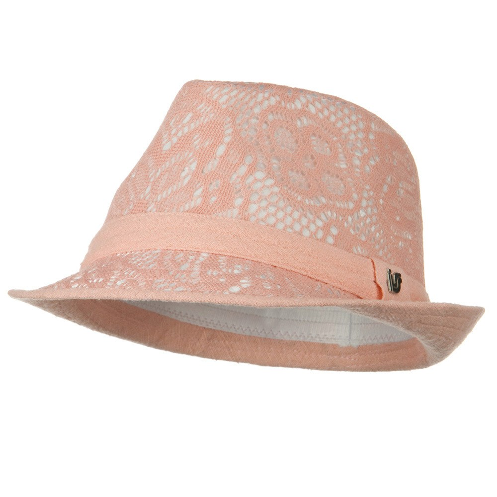 Flower Lace Pattern Fashion Fedora - Pink - Hats and Caps Online Shop - Hip Head Gear