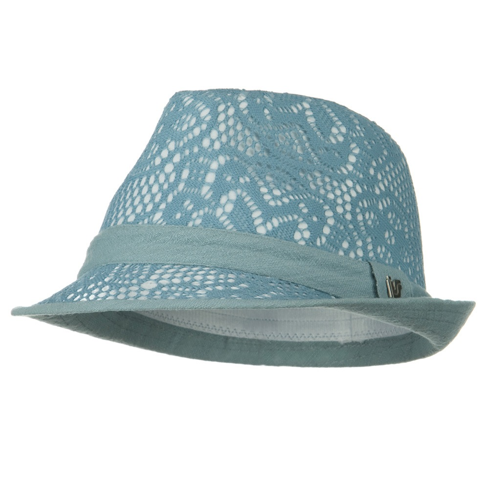 Flower Lace Pattern Fashion Fedora - Blue - Hats and Caps Online Shop - Hip Head Gear