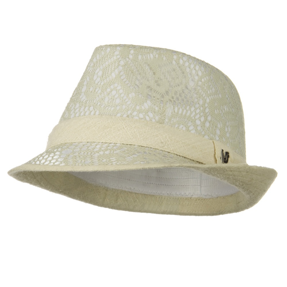 Flower Lace Pattern Fashion Fedora - Beige - Hats and Caps Online Shop - Hip Head Gear