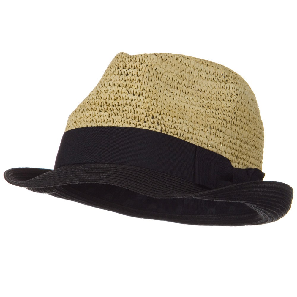 Kamille Fashion Raffia Fedora - Natural Black - Hats and Caps Online Shop - Hip Head Gear
