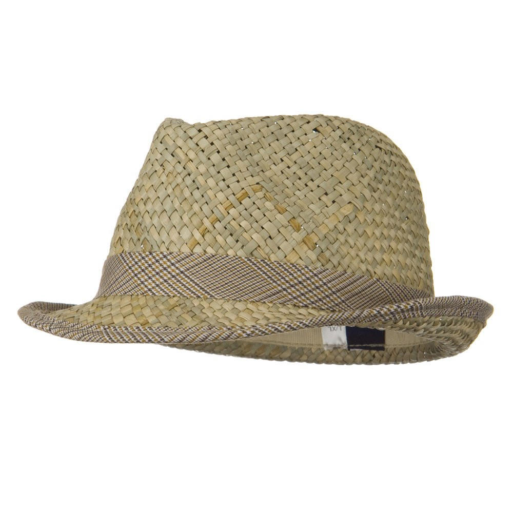 Men's Fashion Sea Grass Fedora Hat - Beige - Hats and Caps Online Shop - Hip Head Gear