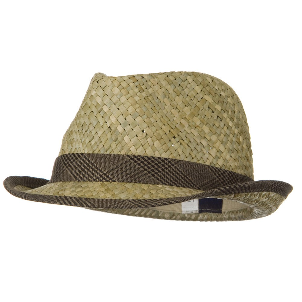 Men's Fashion Sea Grass Fedora Hat - Brown - Hats and Caps Online Shop - Hip Head Gear