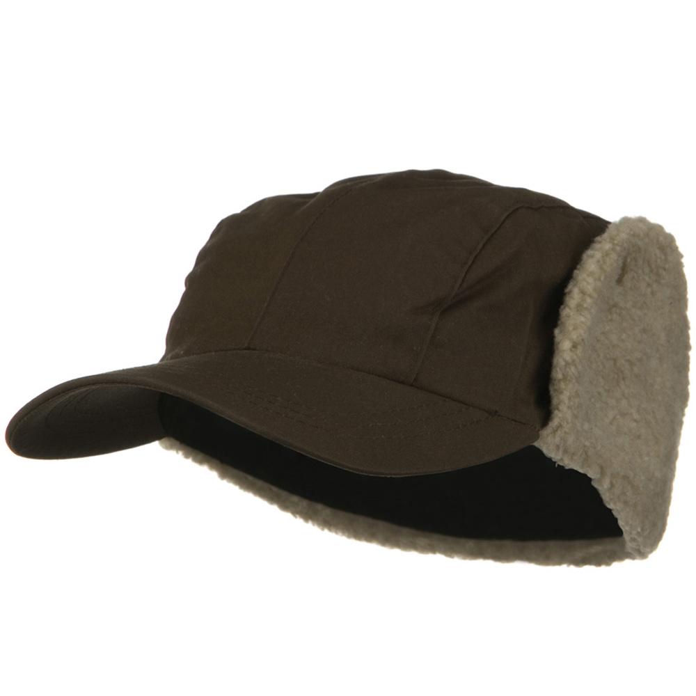 Waxed Cotton Canvas Trapper Cap - Brown - Hats and Caps Online Shop - Hip Head Gear