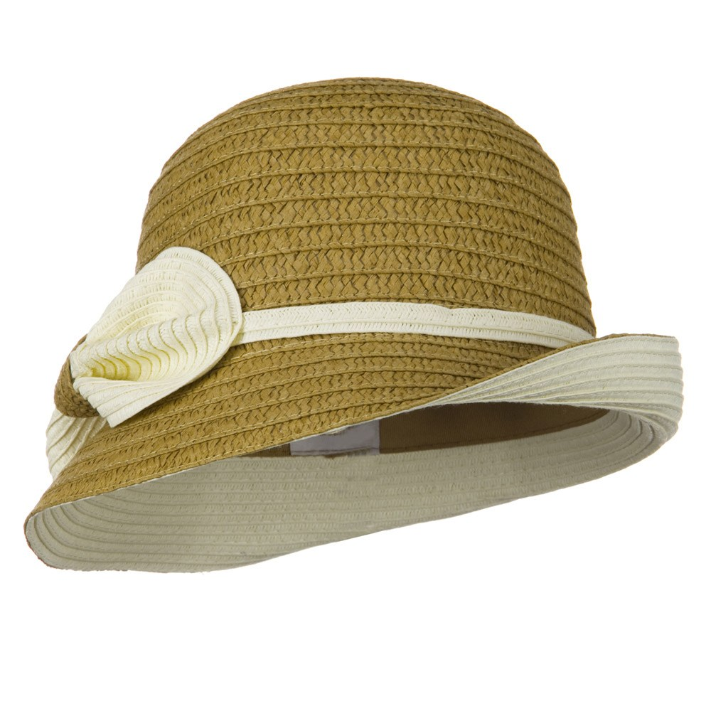 Under Brim Bow and Band Fedora - Tan - Hats and Caps Online Shop - Hip Head Gear
