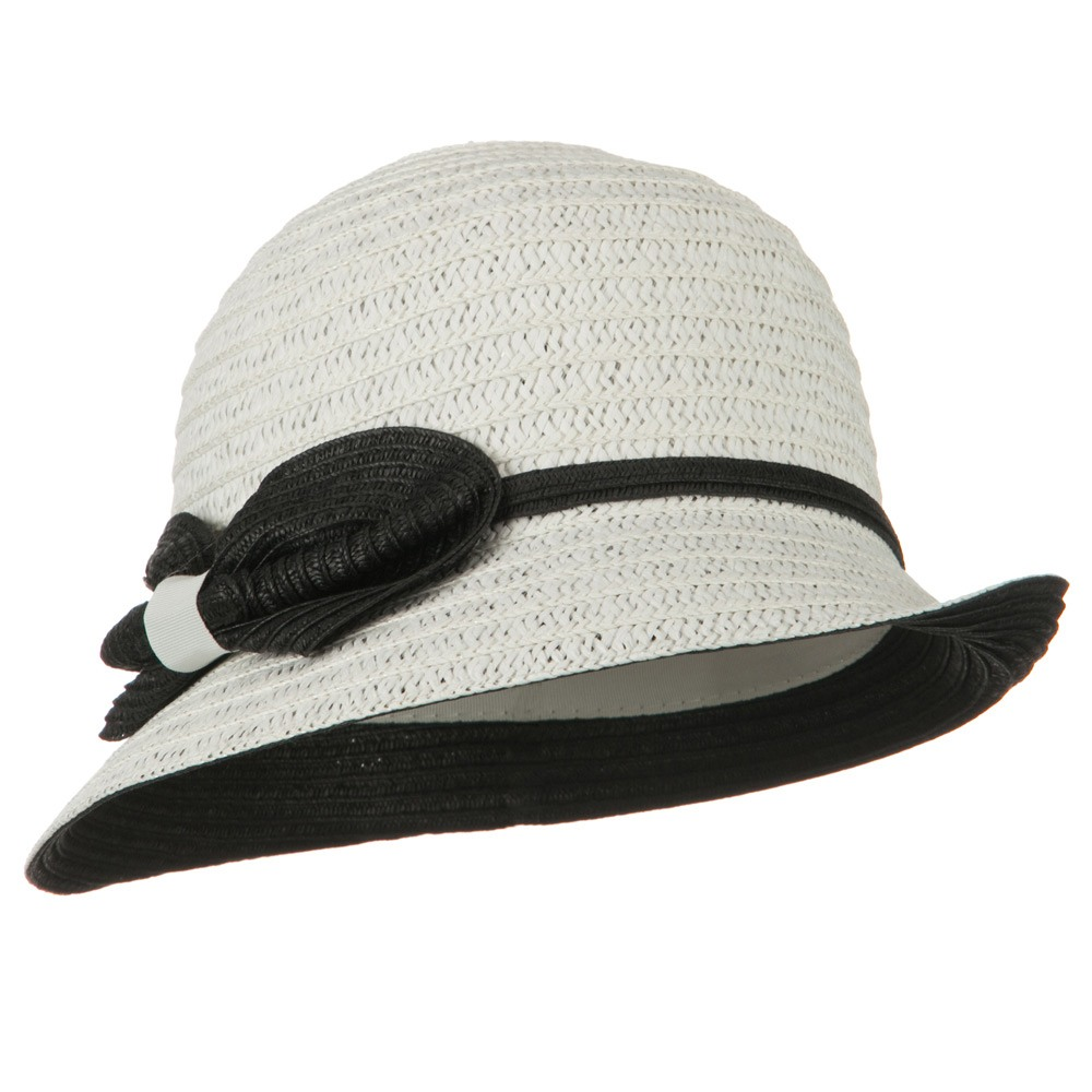 Under Brim Bow and Band Fedora - White - Hats and Caps Online Shop - Hip Head Gear