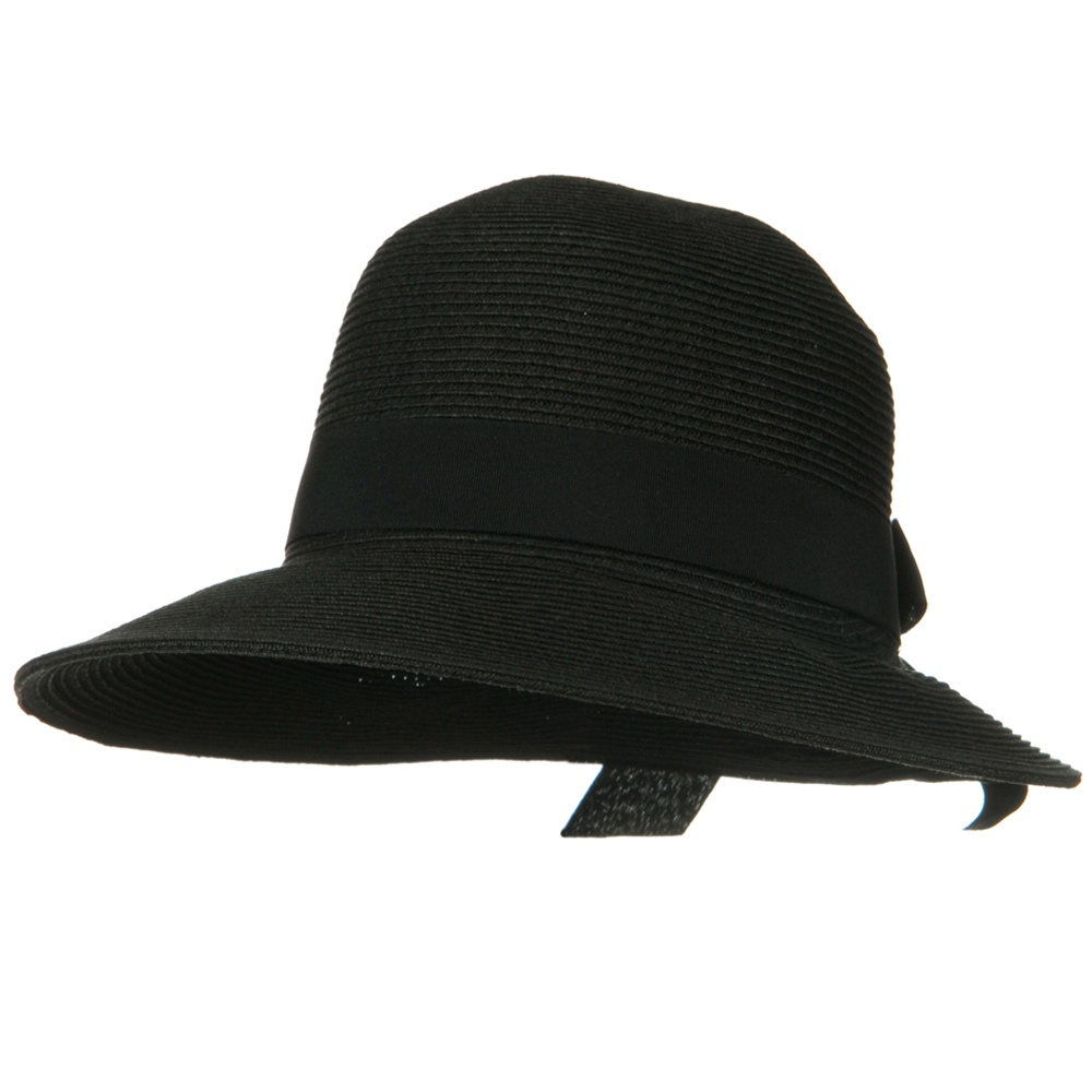 UPF 50+ Wide Brim Bow Front Elastic Sweat Band Hat - Black - Hats and Caps Online Shop - Hip Head Gear