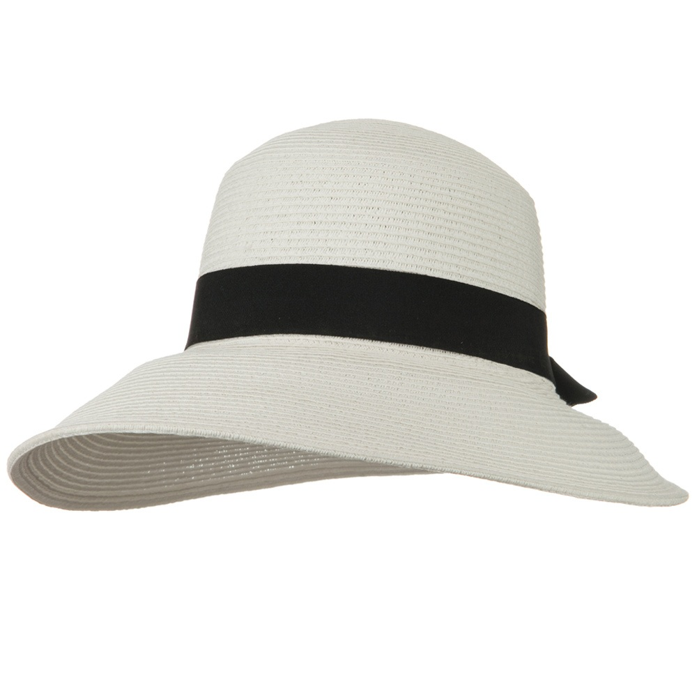 UPF 50+ Wide Brim Bow Front Elastic Sweat Band Hat - White - Hats and Caps Online Shop - Hip Head Gear