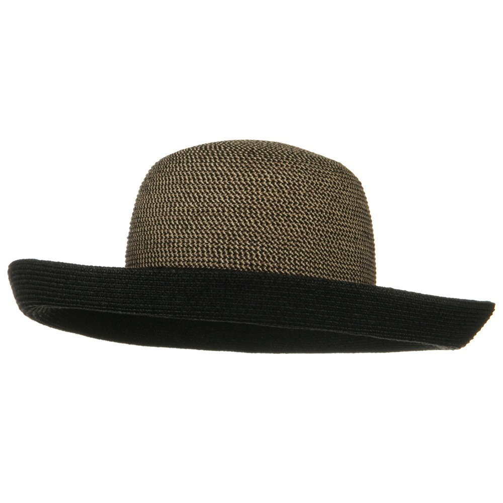 UPF 50+ Tweed Braid Large Kettle Brim Hat - Black - Hats and Caps Online Shop - Hip Head Gear