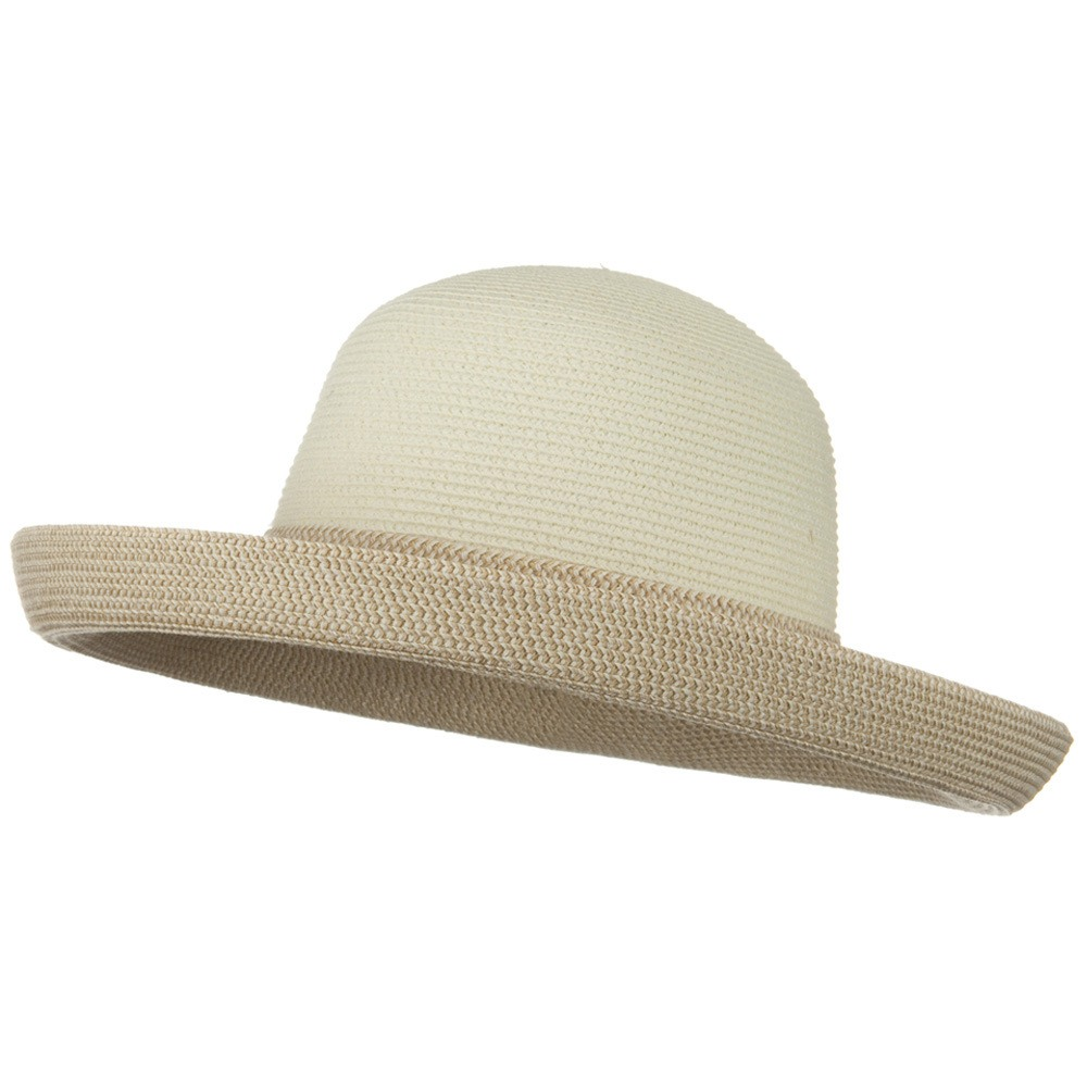 UPF 50+ Tweed Braid Large Kettle Brim Hat - White - Hats and Caps Online Shop - Hip Head Gear