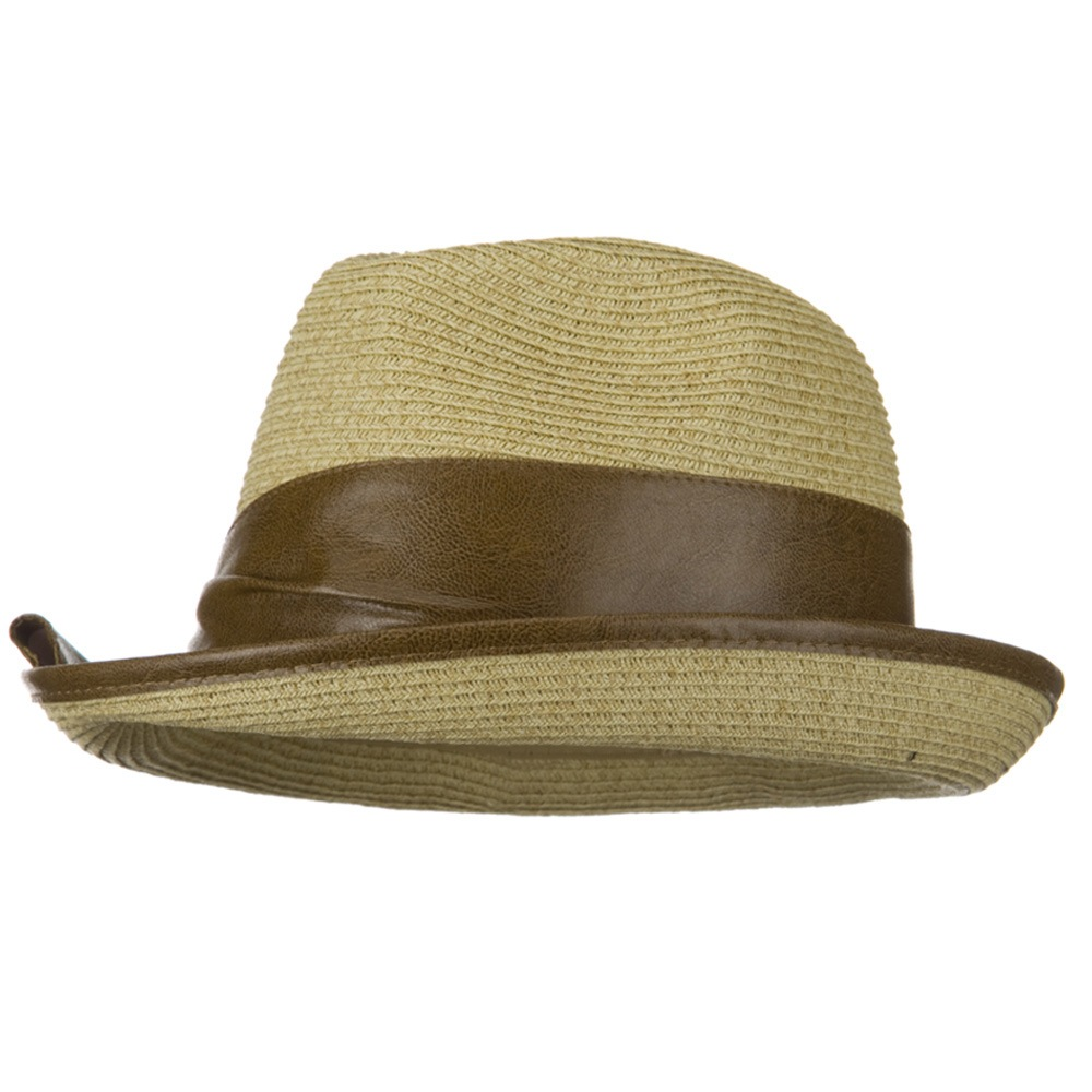UPF 50+ Slanted Leather Brim Fedora - Natural - Hats and Caps Online Shop - Hip Head Gear