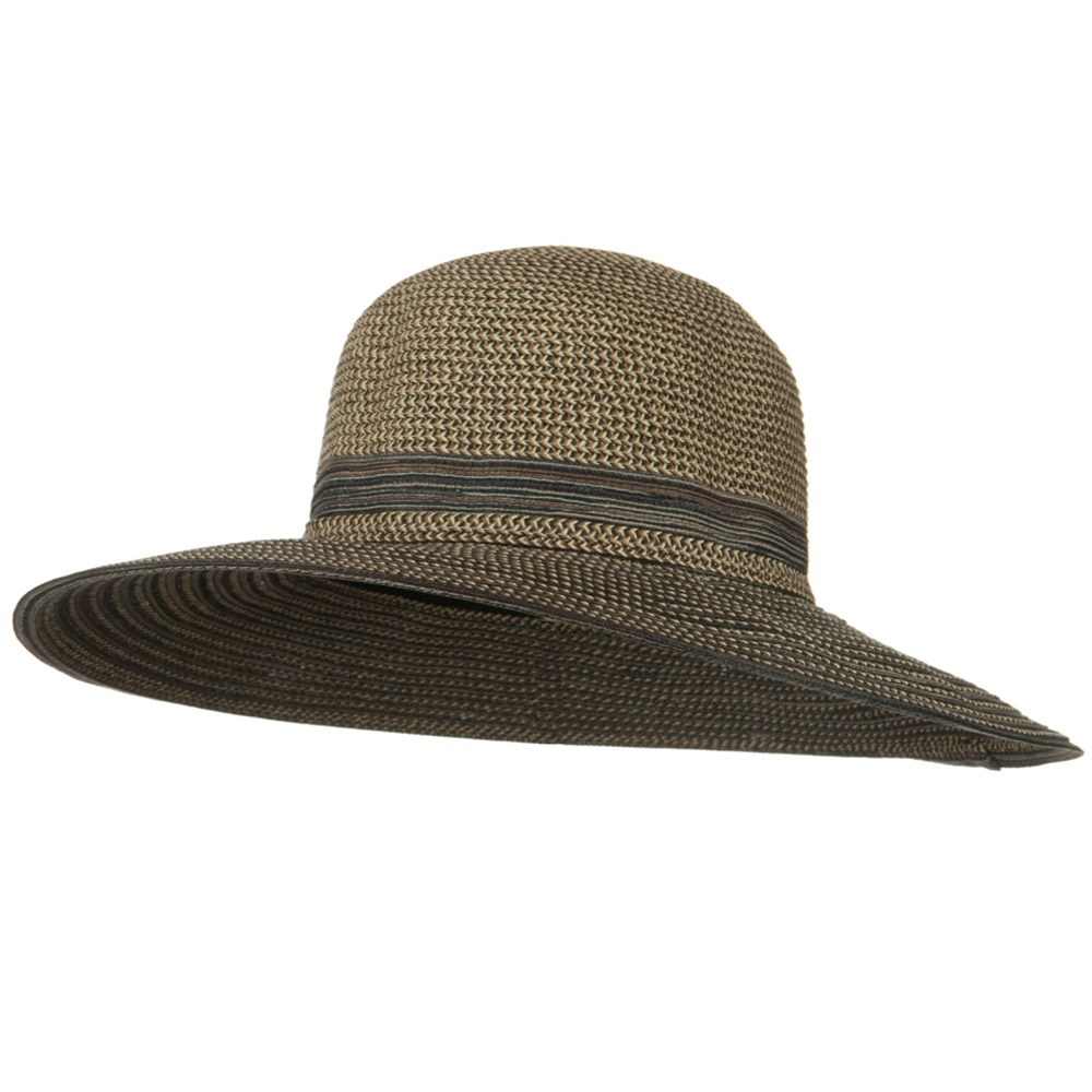 UPF 50+ Tweed Mix Wide Brim Self Tie Hat - Black - Hats and Caps Online Shop - Hip Head Gear