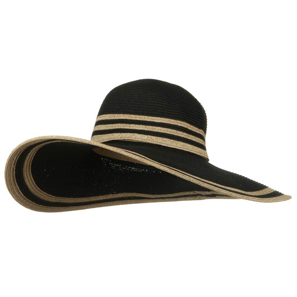 UPF 50+ Two Tone Stripe Wide Brim Self Tie Hat- Black - Hats and Caps Online Shop - Hip Head Gear