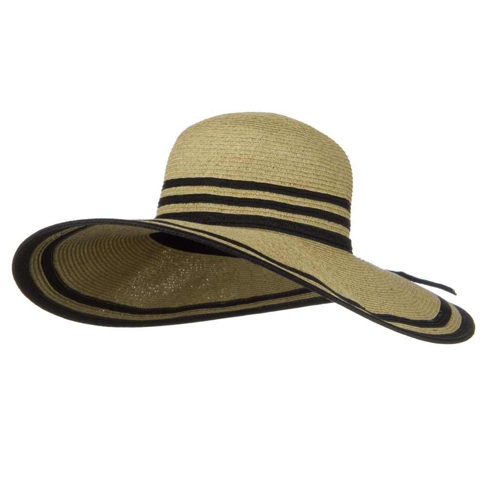 UPF 50+ Two Tone Stripe Wide Brim Self Tie Hat- Wheat - Hats and Caps Online Shop - Hip Head Gear