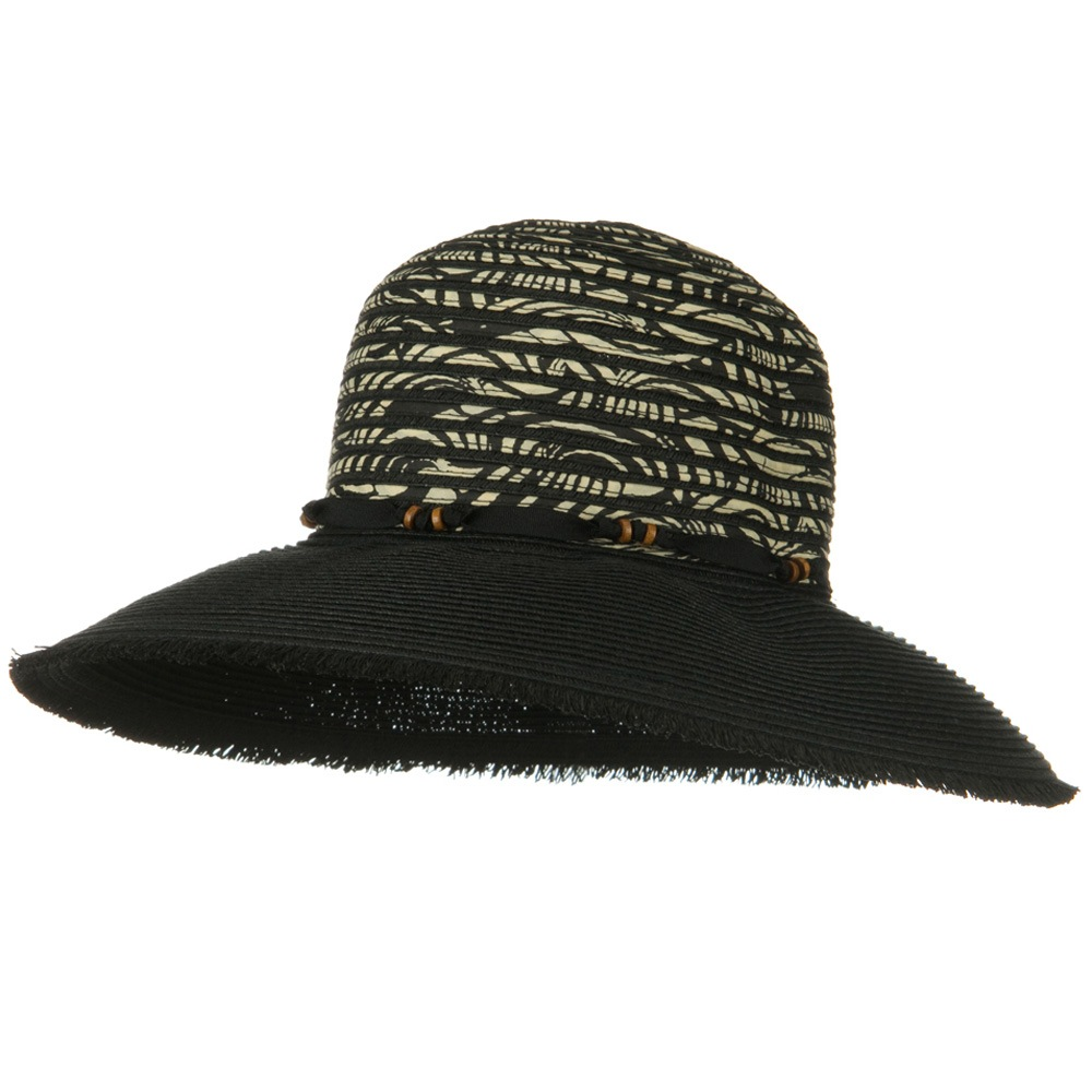 UPF 50+ Wide Brim Fringe Edge Self Tie Hat - Black - Hats and Caps Online Shop - Hip Head Gear
