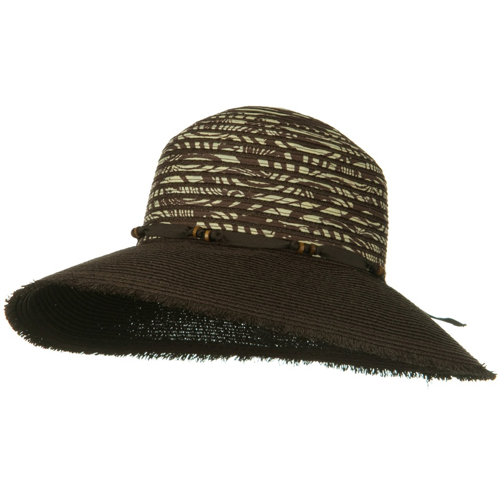 UPF 50+ Wide Brim Fringe Edge Self Tie Hat - Brown - Hats and Caps Online Shop - Hip Head Gear