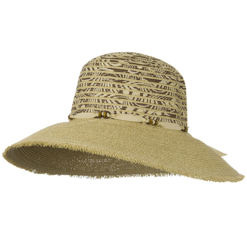 UPF 50+ Wide Brim Fringe Edge Self Tie Hat - Tan - Hats and Caps Online Shop - Hip Head Gear