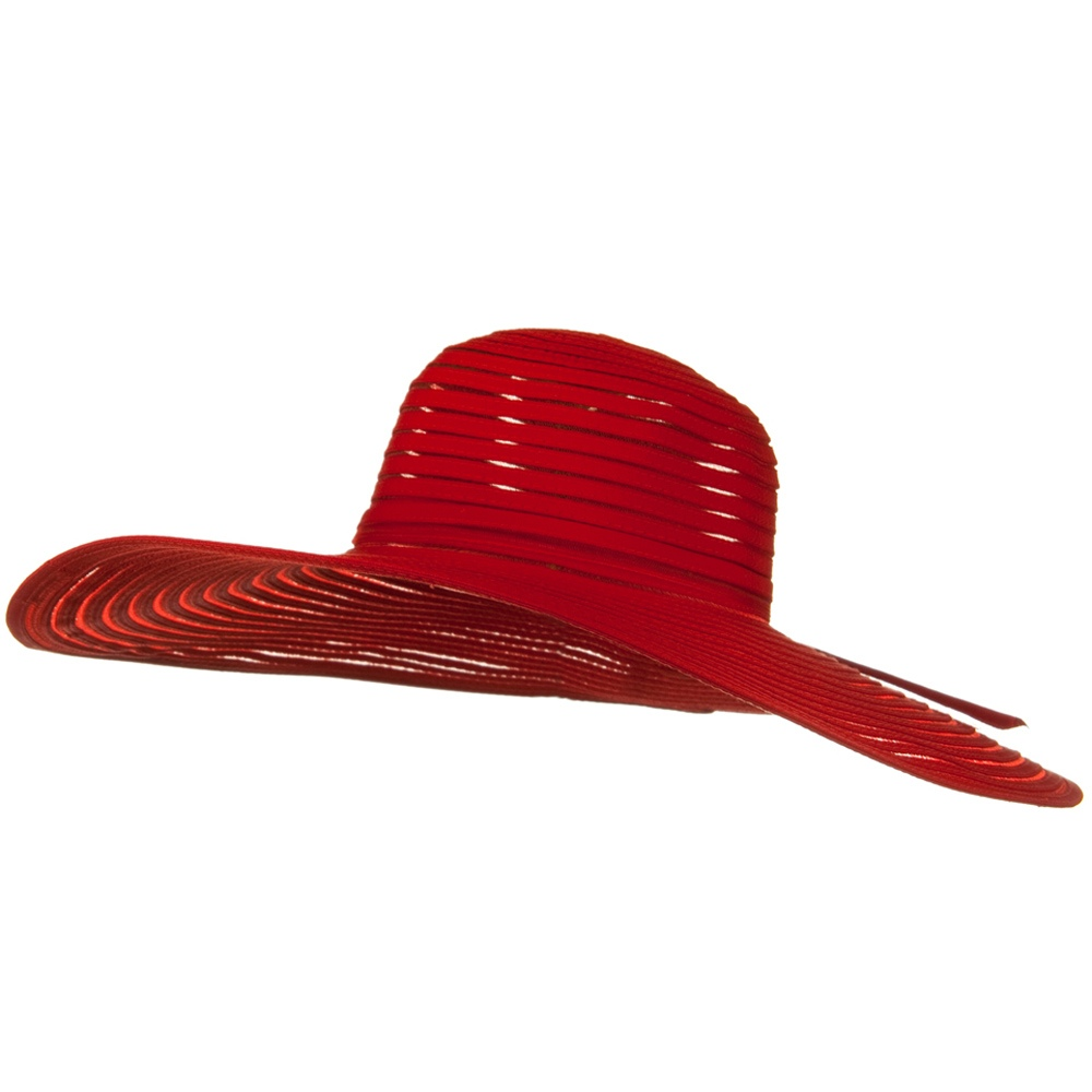 UPF 40+ Sheer Ribbon Wide Brim Wire Edge Self Tie Hat - Red - Hats and Caps Online Shop - Hip Head Gear