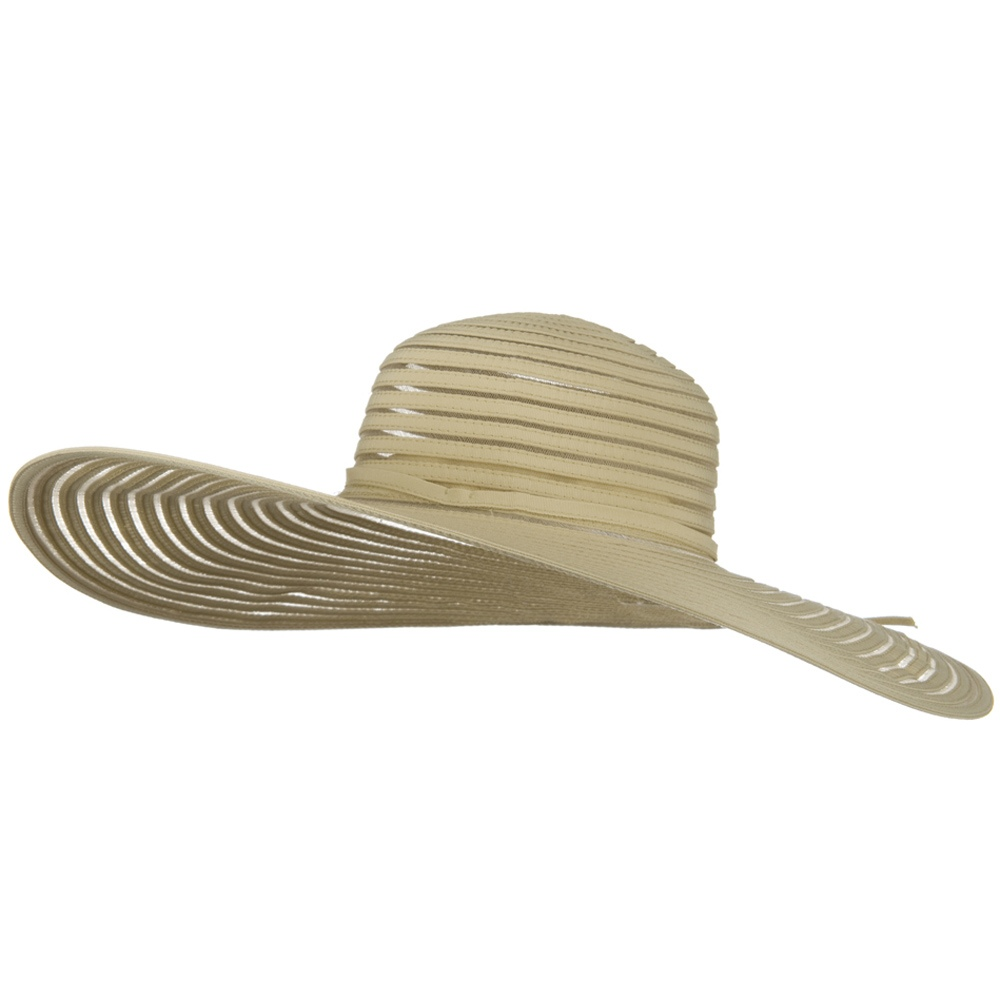 UPF 40+ Sheer Ribbon Wide Brim Wire Edge Self Tie Hat - Tan - Hats and Caps Online Shop - Hip Head Gear