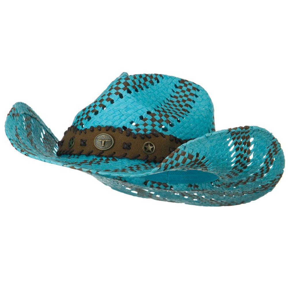 Two Tone Trimming Cowboy Hat - Blue Brown - Hats and Caps Online Shop - Hip Head Gear