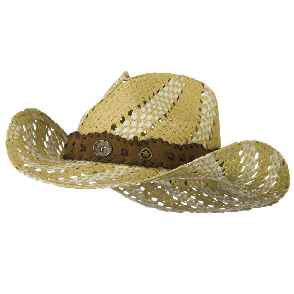 Two Tone Trimming Cowboy Hat - Natural Ivory - Hats and Caps Online Shop - Hip Head Gear